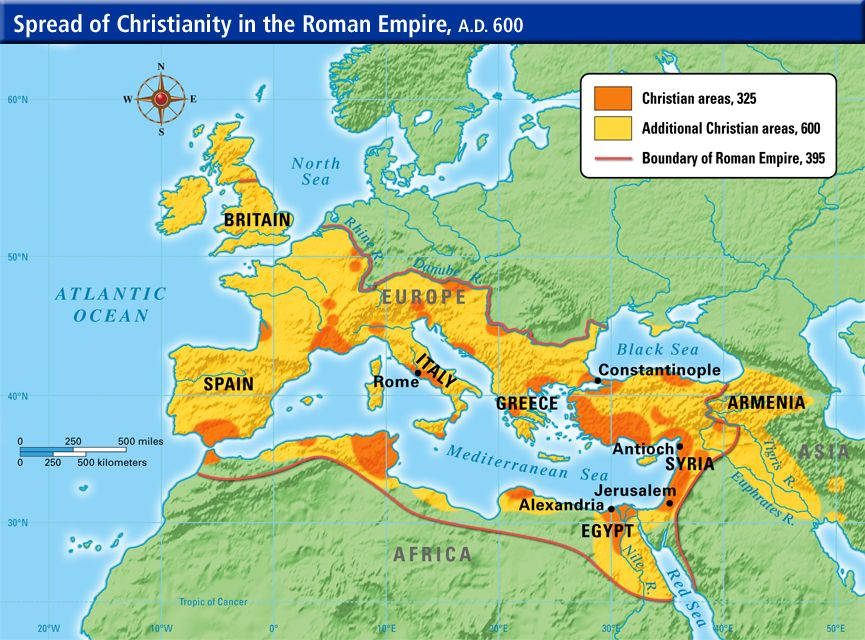 map of spread of Christianity