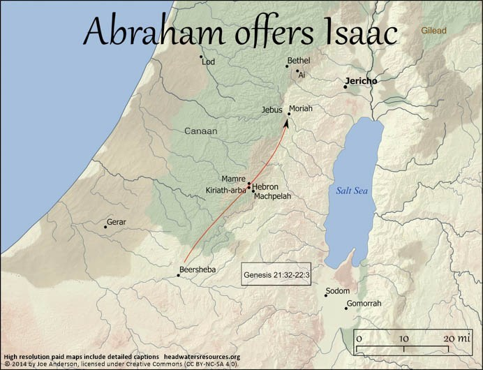 abraham's journey to region of moriah to sacrifice isaac