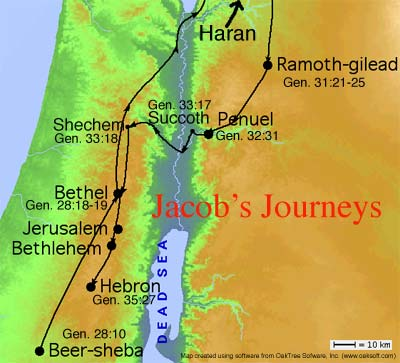 map of Shechem to Bethel Genesis 35 www.atozmomm.com