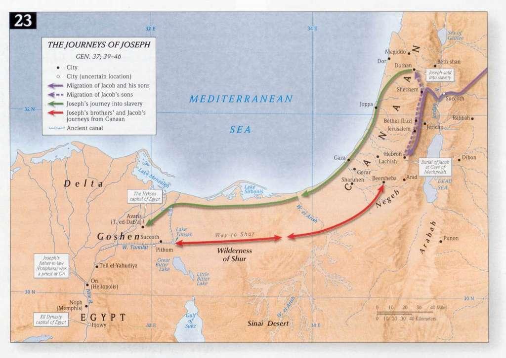 map of Jacob's journey to Egypt www.atozmomm.com