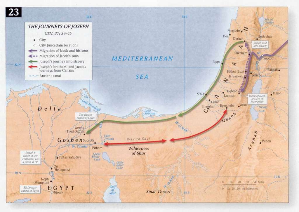 map of Jacob's journey to Egypt www.atozmomm.com